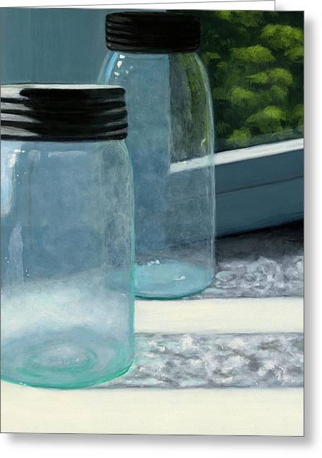 Ball Jars Greeting Cards - Mason Jars Greeting Card by Karyn Robinson