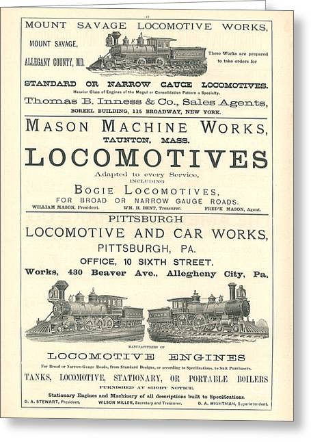 Advertisment Greeting Cards - Mason Machine Works Advertisement Engraving Greeting Card by MMG Archive Prints