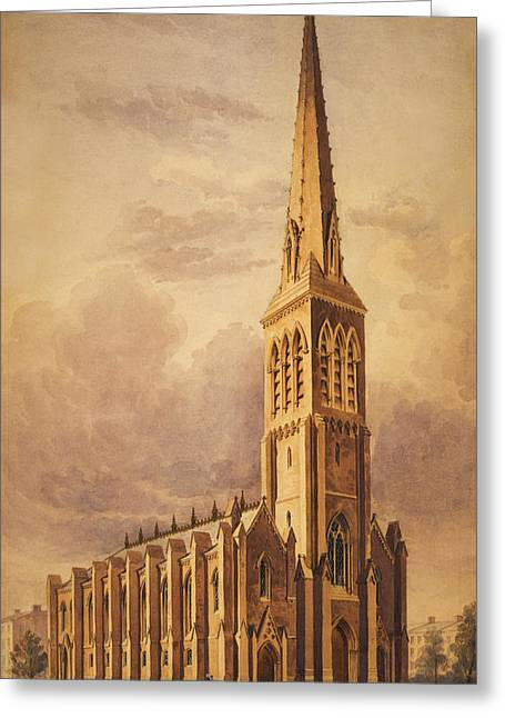 Storm Clouds Drawings Greeting Cards - Masonry church circa 1850 Greeting Card by Aged Pixel