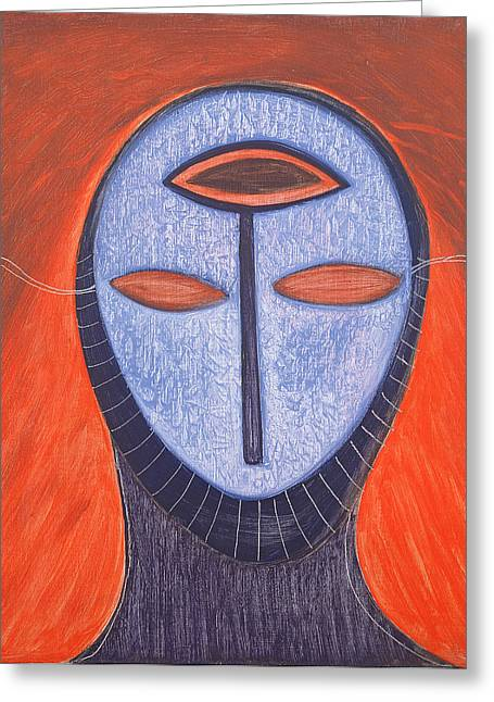 Humans Photographs Greeting Cards - Masque V, 1991 Oil On Board Greeting Card by Marie Hugo