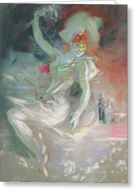 Fancy-dancer Greeting Cards - Masquerade Greeting Card by Jules Cheret