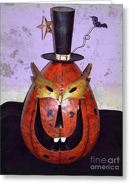Humorous Greeting Cards Digital Art Greeting Cards - Masquerade Mask Pumpkin - Halloween art Greeting Card by Ella Kaye Dickey