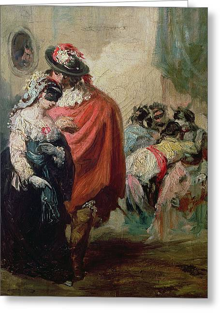 Mascara Greeting Cards - Masquerade Oil On Canvas Greeting Card by Eugenio Lucas y Padilla