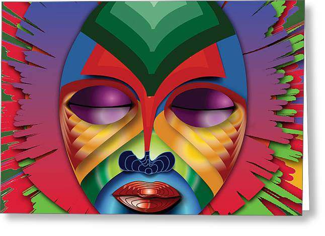 Recently Sold -  - African-american Greeting Cards - Masquerade Greeting Card by Vernon Rowlette