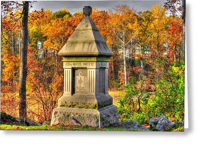 Sickles Avenue Greeting Cards - Massachusetts at Gettysburg - 22nd Mass. Volunteer Infantry - in the Rose Woods Greeting Card by Michael Mazaika