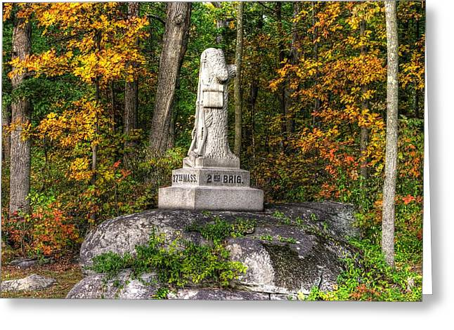 Massachusetts At Gettysburg - 37th Mass. Infantry Autumn Early-evening Sedgwick Avenue Greeting Card by Michael Mazaika