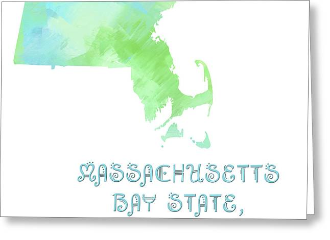 State Phrase Greeting Cards - Massachusetts - Bay State - Old Colony State - Map - State Phrase - Geology Greeting Card by Andee Design