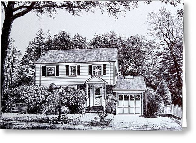 Pen And Ink Drawing Greeting Cards - Massachusetts House Drawing Greeting Card by Hanne Lore Koehler