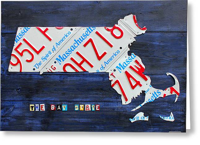 Metal Art Greeting Cards - Massachusetts License Plate Map Greeting Card by Design Turnpike