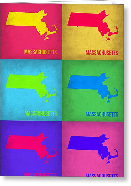 Massachusetts Greeting Cards - Massachusetts Pop Art Map 1 Greeting Card by Naxart Studio