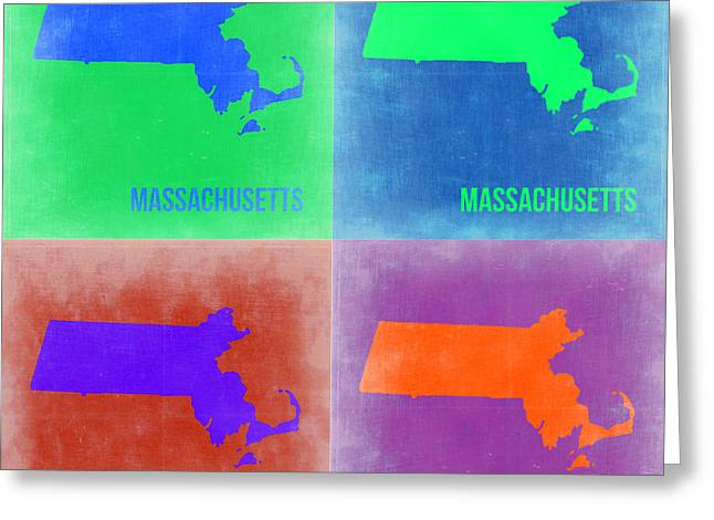 Massachusetts Greeting Cards - Massachusetts Pop Art Map 2 Greeting Card by Naxart Studio