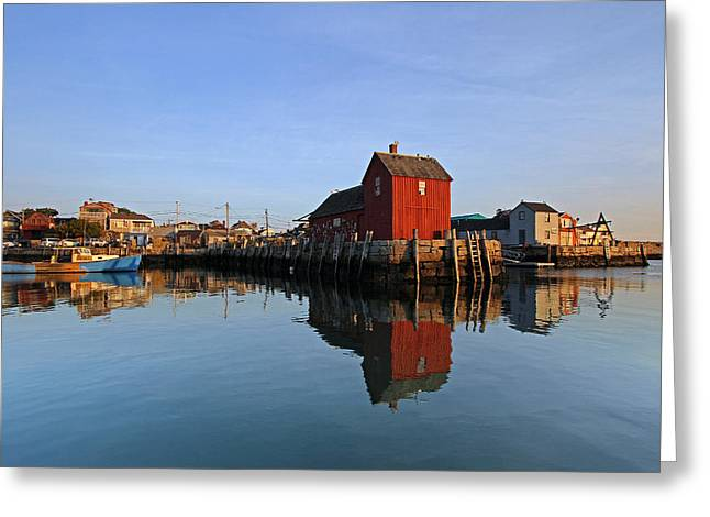 Red Fishing Shack Greeting Cards - Massachusetts Rockport Harbor Greeting Card by Juergen Roth