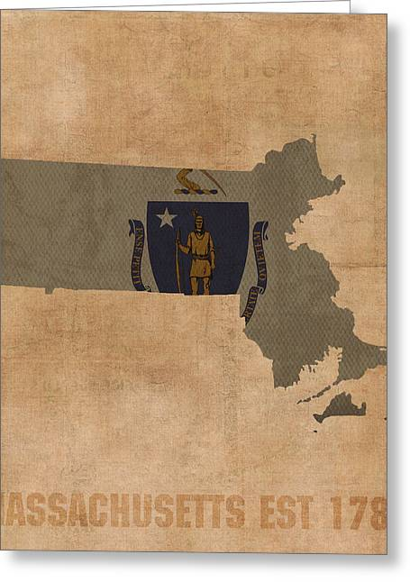 Dated Greeting Cards - Massachusetts State Flag Map Outline With Founding Date On Worn Parchment Background Greeting Card by Design Turnpike