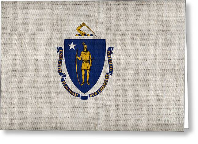 Pixel Chimp Greeting Cards - Massachusetts State Flag Greeting Card by Pixel Chimp