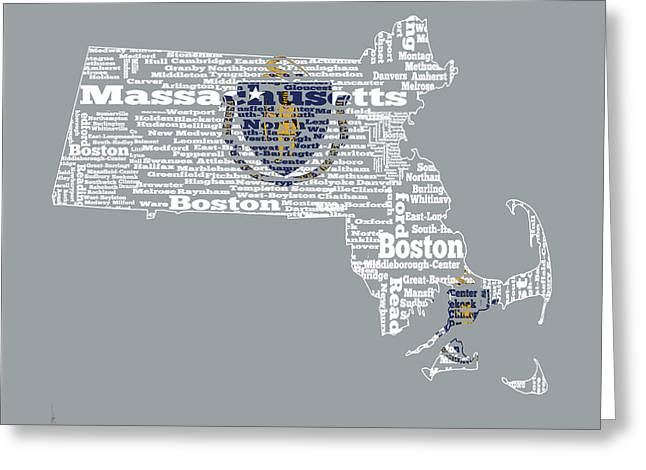 Massachusetts Bay Colony Greeting Cards - Massachusetts State Flag Word Cloud Greeting Card by Brian Reaves