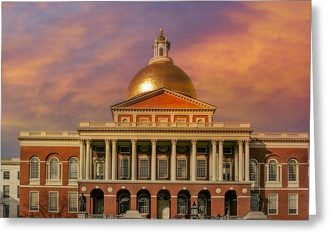 Beantown Greeting Cards - Massachusetts State House Greeting Card by Susan Candelario