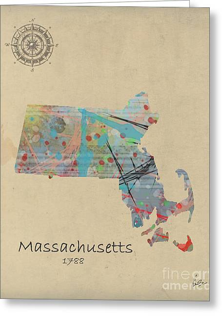 World Digital Map Greeting Cards - Massachusetts State Map Greeting Card by Bri Buckley