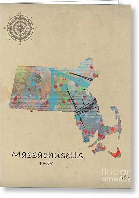 Massachusetts State Map Greeting Card by Bri B