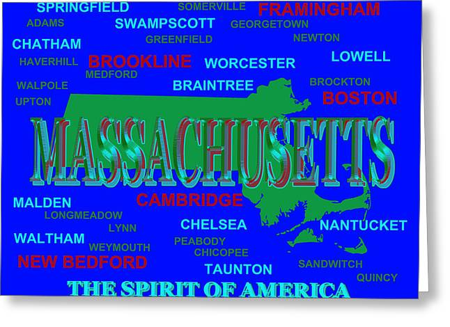Chatham Greeting Cards - Massachusetts State Pride Map Silhouette  Greeting Card by Keith Webber Jr