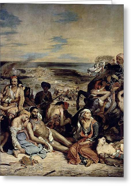 Massacre At Chios Greeting Card by Eugene Delacroix