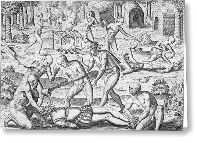 Violent Greeting Cards - Massacre of Christian missionaries Greeting Card by Theodore De Bry