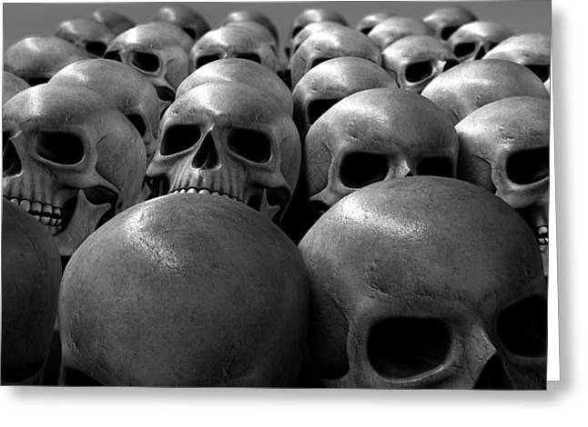 Sorrow Digital Art Greeting Cards - Massacre Of Skulls Greeting Card by Allan Swart
