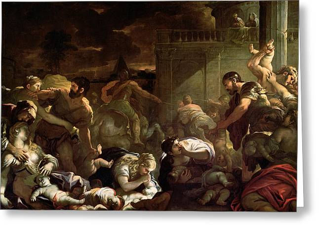 Massacre Of The Innocents Greeting Card by Luca Giordano