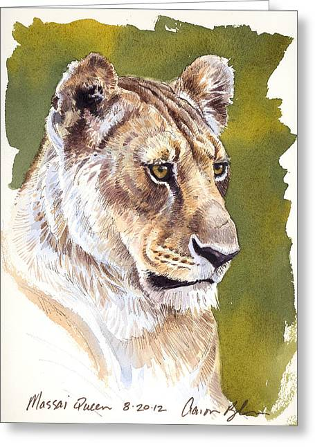 Lioness Greeting Cards - Massai Queen Greeting Card by Aaron Blaise