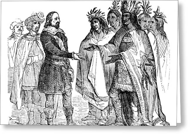 Massasoit Forges Treaty With Pilgrims Greeting Card by British Library