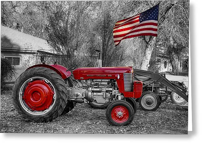 Photography Greeting Cards - Massey -  Feaguson 65 Tractor with USA Flag BWSC Greeting Card by James BO  Insogna