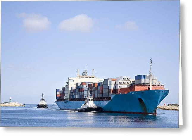 Massive Container Ship Entering River Mouth Assisted by Two Tugs Greeting Card by Colin and Linda McKie