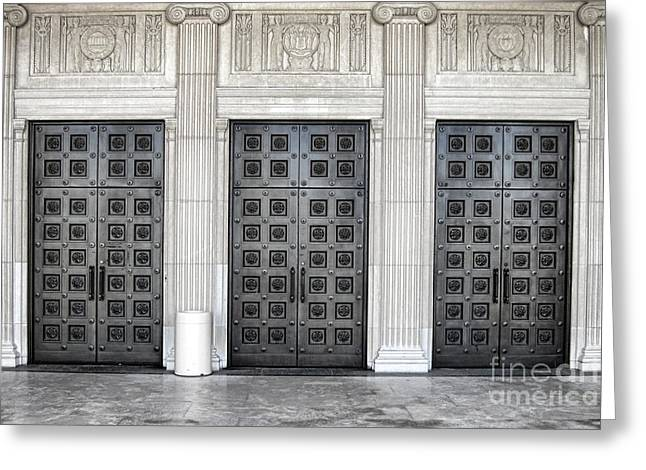 Massive Doors Greeting Card by Olivier Le Queinec