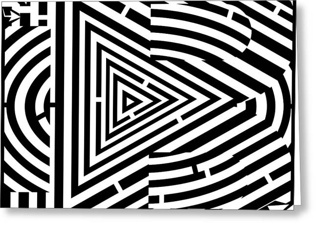 Maze Drawings Greeting Cards - Massive Font Letter B - Psychedelic Maze Greeting Card by Yonatan Frimer Maze Artist