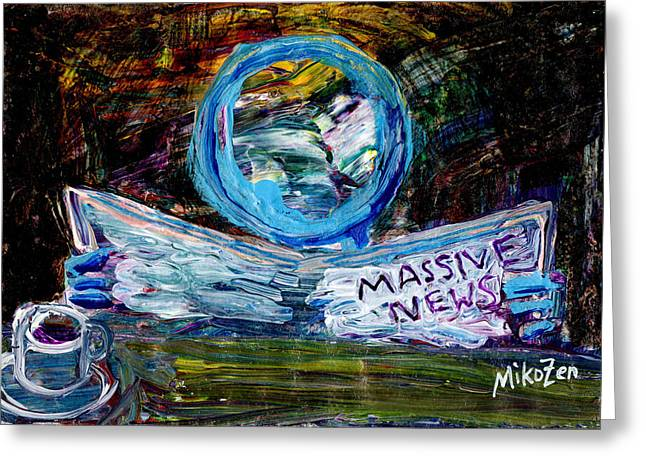 Coffee Drinking Mixed Media Greeting Cards - Massive News Greeting Card by Art By Miko