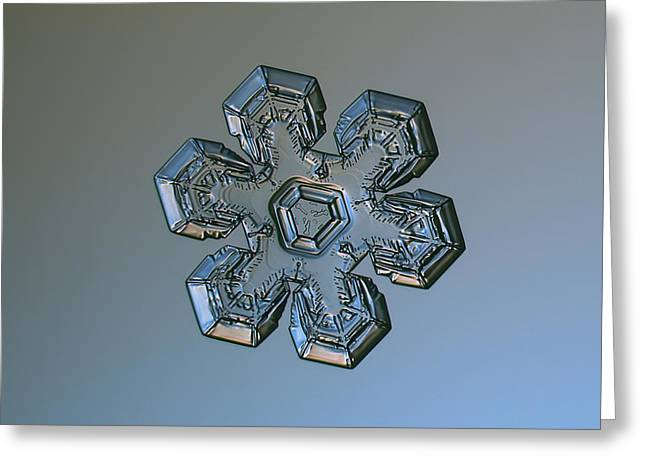Fractal Greeting Cards - Snowflake photo - Massive silver Greeting Card by Alexey Kljatov