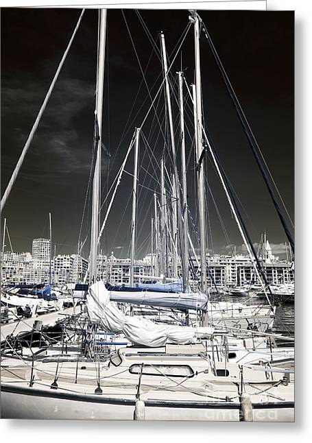 Sailboat Art Greeting Cards - Mast Angles Greeting Card by John Rizzuto