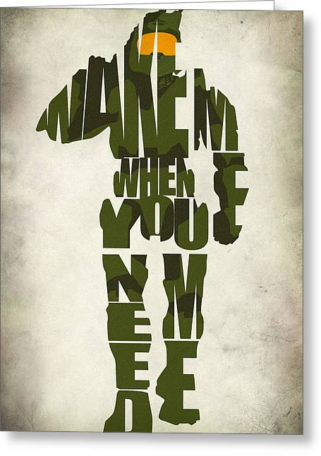 Typographic Digital Art Greeting Cards - Master Chief Greeting Card by Ayse Deniz