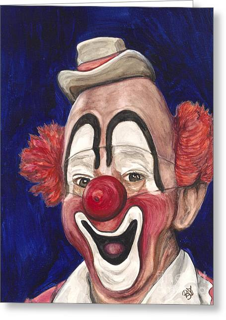 Psovart Paintings Greeting Cards - Master Clown Lou Jacobs Greeting Card by Patty Vicknair