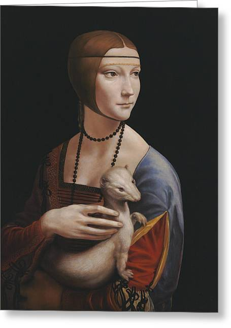 Uffizi Greeting Cards - Master copy of da Vinci Lady with an Ermine Greeting Card by Terry Guyer