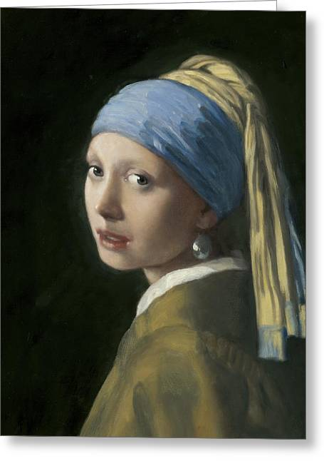 Girl With A Pearl Earring Greeting Cards - Master Copy of Vermeer Girl With A Pearl Earring Greeting Card by Terry Guyer