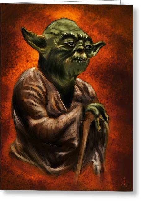 Master Yoda Greeting Cards - Master Jedi Greeting Card by Wesley S Abney