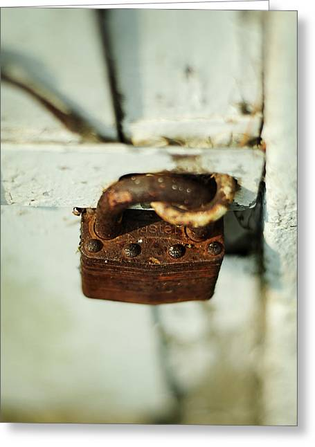 Master Lock Greeting Card by Rebecca Sherman