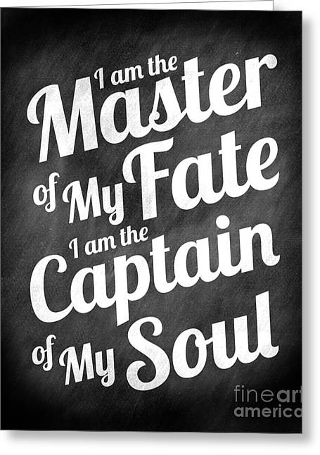 Survivor Art Greeting Cards - Master of My Fate - Chalkboard Style Greeting Card by Ginny Gaura