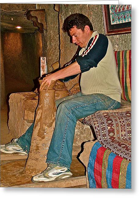 Master Potter Greeting Cards - Master Potter at Work in Avanos-Turkey Greeting Card by Ruth Hager