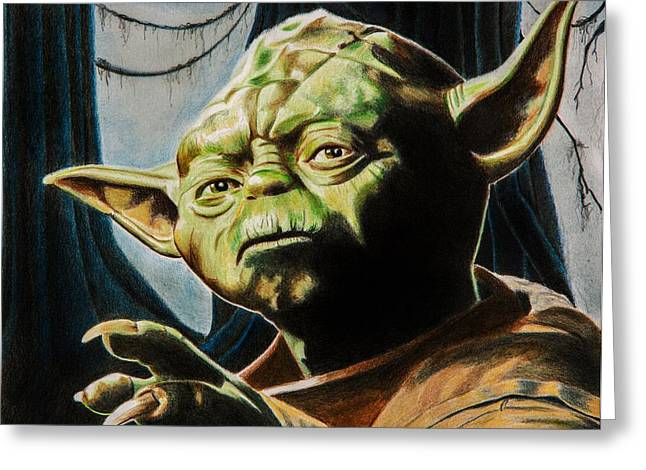 Science Greeting Cards - Master Yoda Greeting Card by Brian Broadway