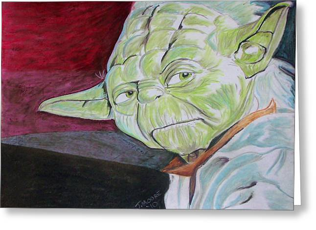 Science Pastels Greeting Cards - Master Yoda Greeting Card by Jeremy Moore
