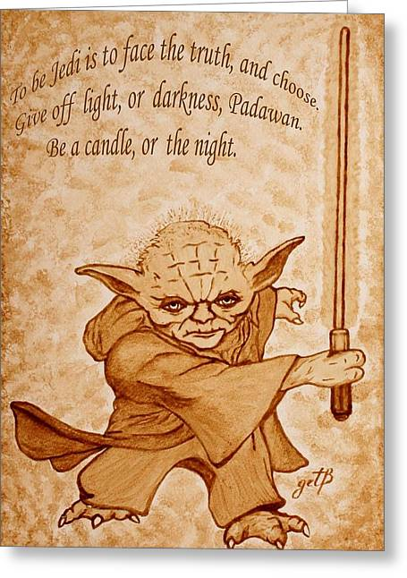 Master Yoda Greeting Cards - Master Yoda Wisdom Greeting Card by Georgeta  Blanaru