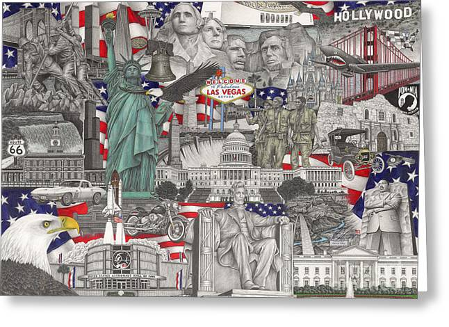 Veteran Drawings Greeting Cards - Masterpiece America Greeting Card by Omoro Rahim