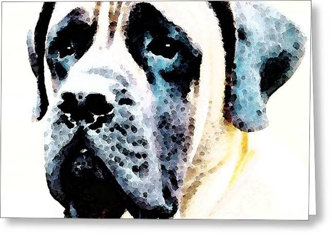 Large Digital Greeting Cards - Mastif Dog Art - Misunderstood Greeting Card by Sharon Cummings