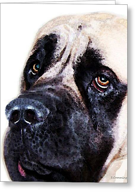 Slobber Greeting Cards - Mastiff Dog Art - Sad Eyes Greeting Card by Sharon Cummings